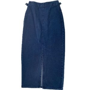 ASOS denim Blue Long Pencil Skirt Pockets size 4